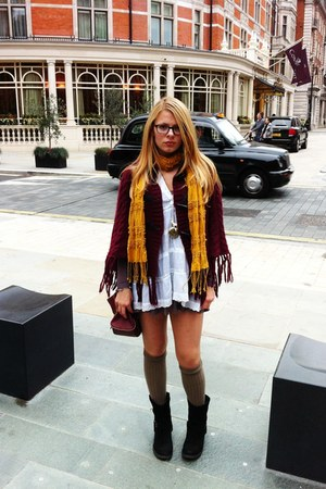 maroon Primark jacket - black buckle Rocket Dog boots - puce River Island dress