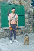 brown BDG jeans - beige Mach II Arrow shirt - light pink Cheap Monday t-shirt -