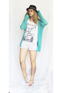 Black-hat-aquamarine-sweater-white-flower-pattern-shorts-white-sandals