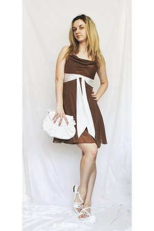 white bag - bronze sparkling dress - white sandals