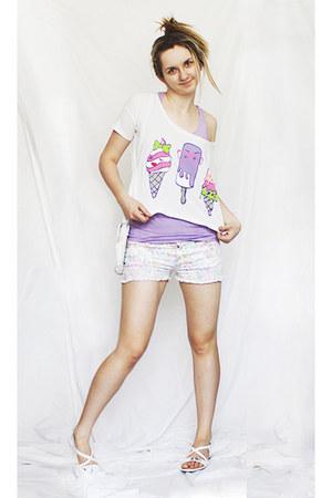 white bag - ivory florish pattern shorts - white ice cream blouse