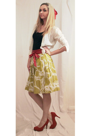 white shirt - lime green white patterm skirt - ruby red heels