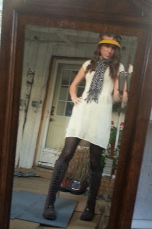 yellow Target hat - Frye boots - American Eagle dress - American Eagle tights