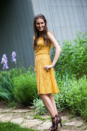 yellow BCBG dress - dark brown BCBG heels