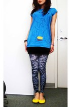 blue oversized tee Dorothy Perkins shirt - blue footless tights Claires leggings