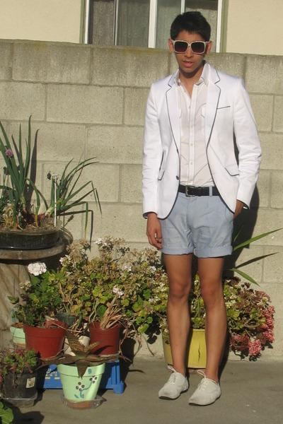 white H&M blazer - white Express shirt - blue H&M shorts - white shoes