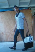 blue thrifted hat - blue H&M t-shirt - blue Forever 21 jeans - blue H&M shoes -