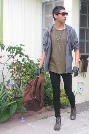 brown Forever 21 boots - gray Forever 21 jacket - olive Swap Meet t-shirt