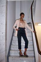 pink H&M blazer - pink Beyond Vintage top - black H&M pants - black Lucky Brand