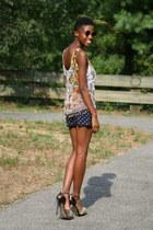 Beyond Vintage top - Urban Outfitters shorts - Steve Madden heels