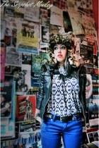 Miss Sixty jacket - Betsey Johnson sunglasses - Dries Van Noten top