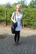 blue vest - black leggings - white H&M shirt - black shoes - black purse - blue