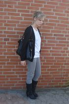 black H&M cardigan - white Yessica t-shirt - black boots - gray Global Funk pant
