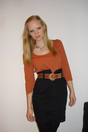 silver Pilgrim necklace - black H&M tights - brown Secondhand belt