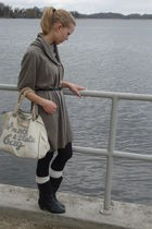 brown seconhand dress - beige Anya Hindmarch purse - beige H&M socks - black mam