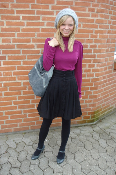 purple H&M blouse - black H&M skirt - gray H&M hat - gray Dorothy Perkins purse