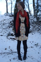 nude moms old dress - black moms boots - black New Yorker cardigan - orange H&M