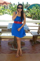 blue Botique Olivia dress - red random find belt - black Aldo sunglasses