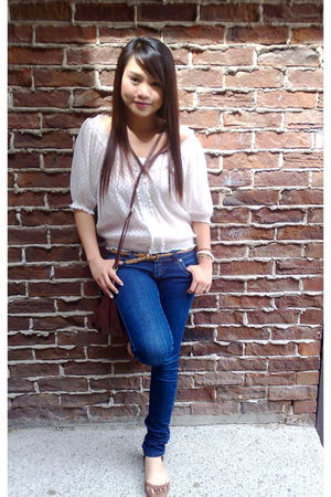 white Smart Set blouse - Sirens jeans - H&M purse - Guess accessories - brown Za