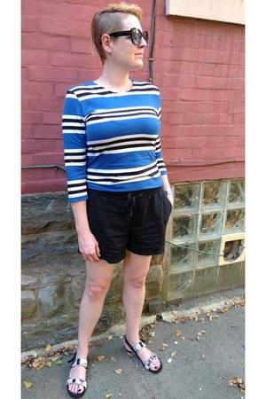 black drawstring JCrew shorts - blue striped French Connection dress