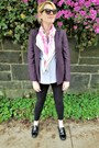 Black-maternity-gap-leggings-deep-purple-dvf-blazer-periwinkle-uniqlo-shirt