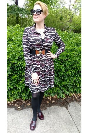 black Gap belt - deep purple printed Le Tote dress - dark brown GH Bass loafers