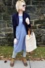 Brown-duck-landsend-boots-light-blue-chambray-romacci-dress