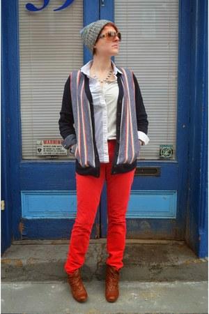 navy stripes JCrew sweater - brown Steve Madden boots