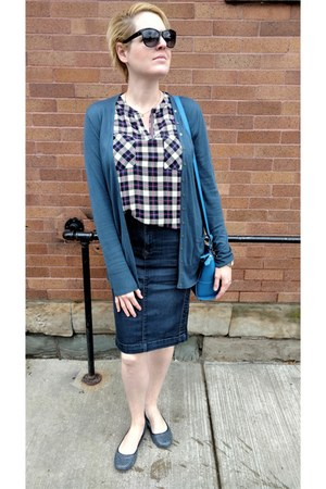 blue Martin & Osa cardigan - red plaid Le Tote blouse - blue denim ANt skirt