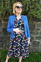 red midi Anne Klein dress - blue JCrew blazer - black penny Zara loafers