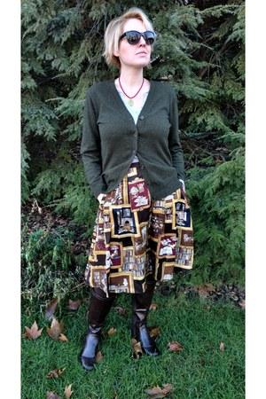 dark brown novelty print JCrew skirt - dark brown knee high DSW boots