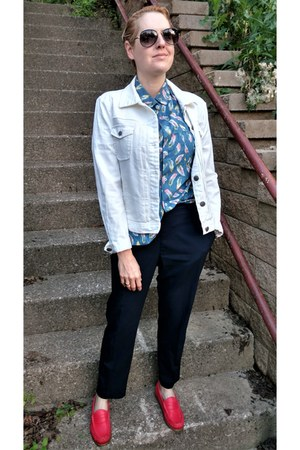 white white denim JCrew jacket - light blue feather-printed Wildfang shirt
