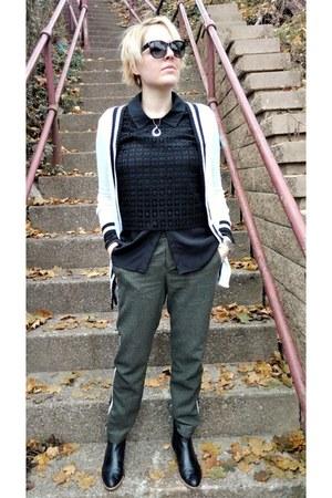 olive green tweed Zara pants - black crochet Le Tote top