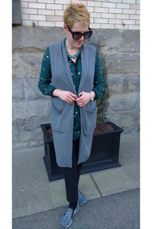 teal Zara dress - black Uniqlo pants - charcoal gray sweater Mango vest