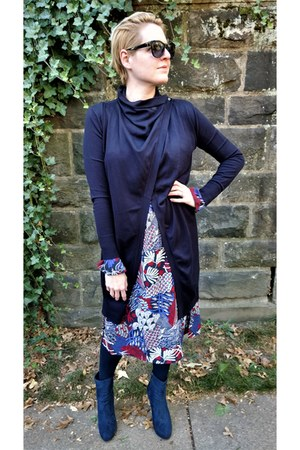 navy Zara cardigan - blue Forever 21 boots - red midi H&M dress