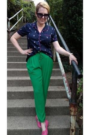 navy pajama JCrew shirt - green drawstring Zara pants - hot pink DSW loafers