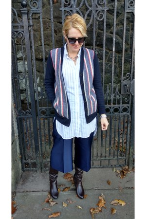 red striped Jcrew cardigan - light blue button down Gap shirt