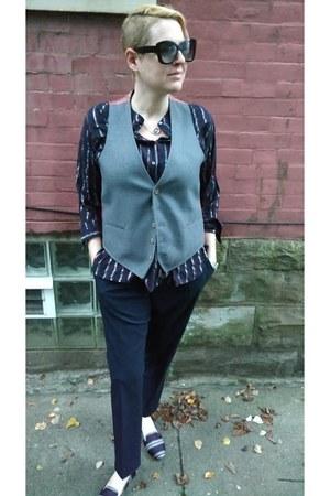 heather gray menswear vintage vest - navy striped JCrew shirt
