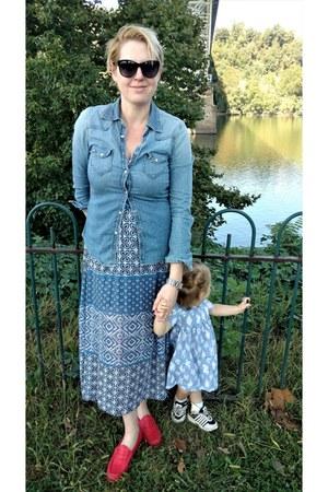 light blue toddler Carters dress - pink maxi Le Tote dress
