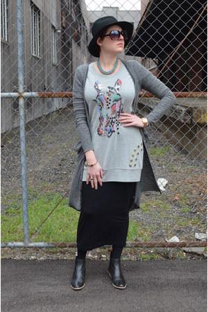 heather gray maxi free people cardigan - black Gap boots