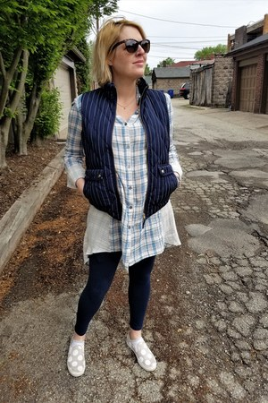 light blue plaid Anthropologie shirt - navy pinstriped JCrew vest