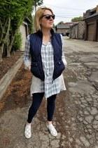 light blue plaid Anthropologie shirt - navy pinstriped JCrew vest
