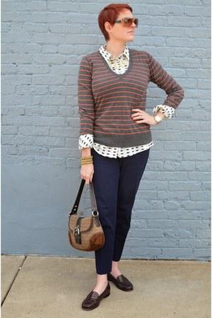 white teacups Gap shirt - orange stripes JCrew sweater - brown coach bag