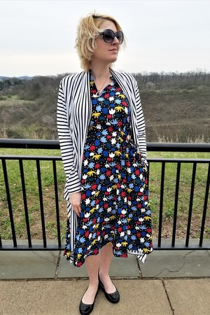 blue midi Anne Klein dress - white striped wrap modcloth cardigan
