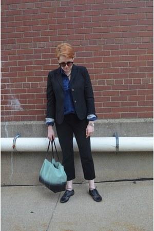 black Gap blazer - turquoise blue Zara bag - black cropped Gap pants