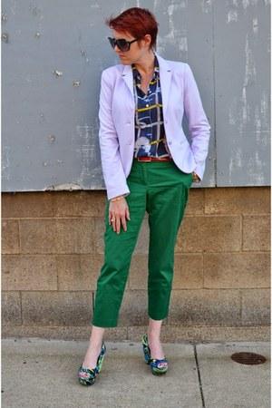 green JCrew pants - light purple Gap blazer - navy Anthropologie blouse