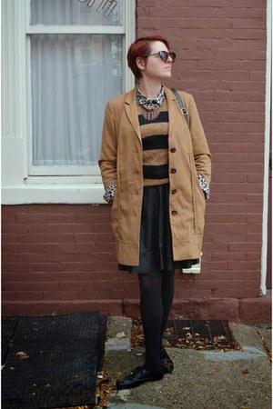 black stripes H&M sweater - beige trench asos coat