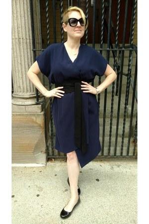 navy obi wrap Finery London dress - black patent leather Dr Scholls flats