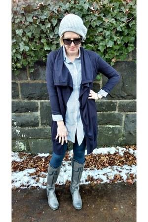 heather gray GHBass boots - white Wildfang shirt - navy open-front Zara cardigan