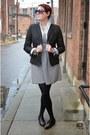White-striped-jcrew-dress-black-gap-blazer-black-studded-zara-loafers